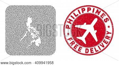 Vector Collage Philippines Map Of Airliner Elements And Grunge Free Delivery Stamp. Mosaic Geographi