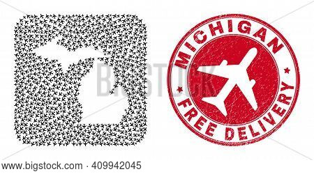Vector Mosaic Michigan State Map Of Aviation Items And Grunge Free Delivery Seal. Collage Geographic