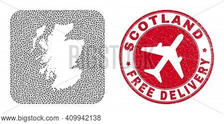 Vector Collage Scotland Map Of Aeroplane Elements And Grunge Free Delivery Badge. Collage Geographic