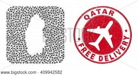 Vector Collage Qatar Map Of Air Plane Items And Grunge Free Delivery Seal Stamp. Collage Geographic