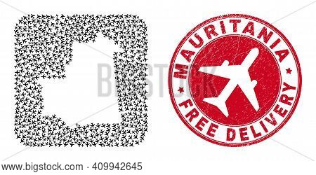 Vector Collage Mauritania Map Of Aircraft Elements And Grunge Free Delivery Seal.