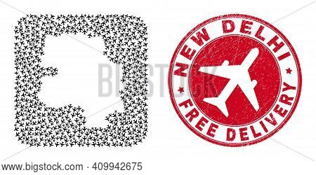 Vector Collage New Delhi City Map Of Aeroplane Elements And Grunge Free Delivery Badge. Collage Geog