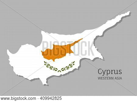 Map Of Cyprus With National Flag. Highly Detailed Editable Map Of Cyprus, Western Asia Country Terri