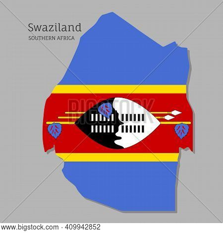 Map Of Swaziland With National Flag. Highly Detailed Map Of Southern Africa Country With Territory B