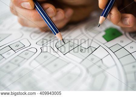 Land Plot And Building Map. Urban Development Planning