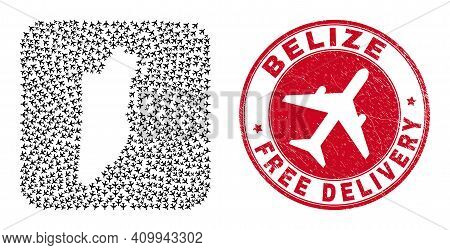 Vector Collage Belize Map Of Air Plane Items And Grunge Free Delivery Stamp. Mosaic Geographic Beliz