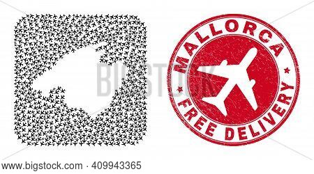 Vector Mosaic Mallorca Map Of Air Plane Items And Grunge Free Delivery Seal. Collage Geographic Mall