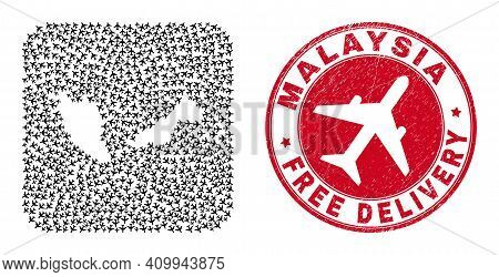 Vector Collage Malaysia Map Of Jet Vehicle Elements And Grunge Free Delivery Stamp. Mosaic Geographi