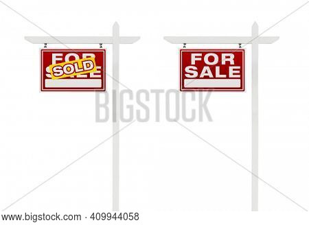 Two Left Facing Sold and For Sale Real Estate Signs With Clipping Paths Isolated on White Background.