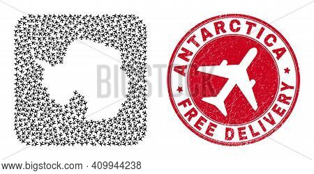 Vector Mosaic Antarctica Continent Map Of Air Force Items And Grunge Free Delivery Badge.