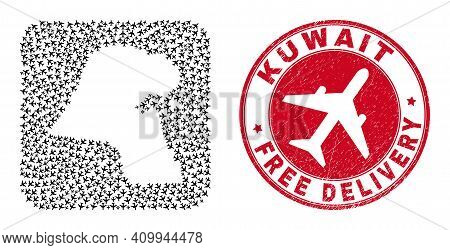 Vector Collage Kuwait Map Of Air Plane Elements And Grunge Free Delivery Seal. Collage Geographic Ku