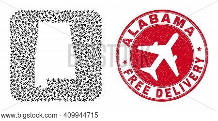 Vector Mosaic Alabama State Map Of Air Force Items And Grunge Free Delivery Badge. Mosaic Geographic
