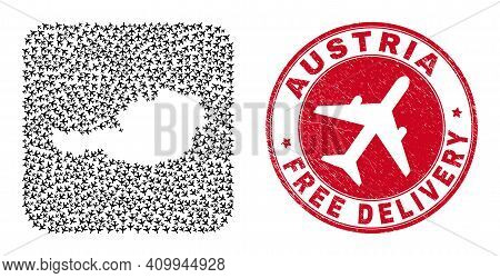 Vector Collage Austria Map Of Air Force Elements And Grunge Free Delivery Seal. Collage Geographic A
