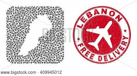 Vector Mosaic Lebanon Map Of Airplane Items And Grunge Free Delivery Seal. Collage Geographic Lebano