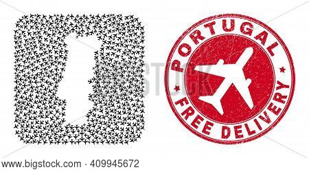 Vector Mosaic Portugal Map Of Airplane Items And Grunge Free Delivery Stamp. Mosaic Geographic Portu