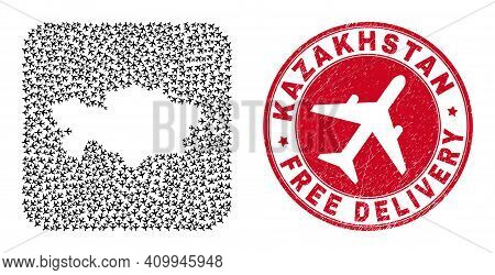 Vector Mosaic Kazakhstan Map Of Aeroplane Elements And Grunge Free Delivery Badge. Collage Geographi