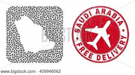 Vector Collage Saudi Arabia Map Of Air Plane Items And Grunge Free Delivery Seal. Mosaic Geographic