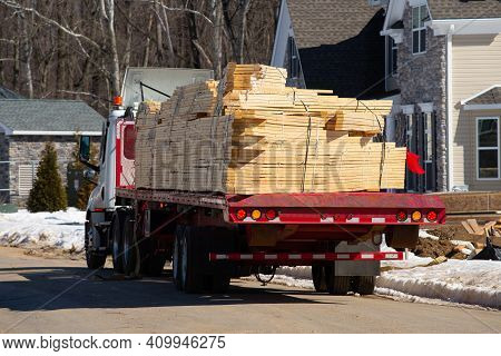 Wooden Beams Stacked On A Truck Industry Supply New