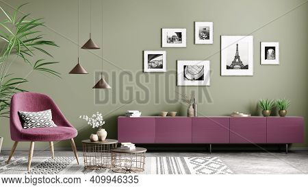 Modern Interior Of Living Room With Dresser And Armchair. Lamps And Frames Over The Green Wall. Styl