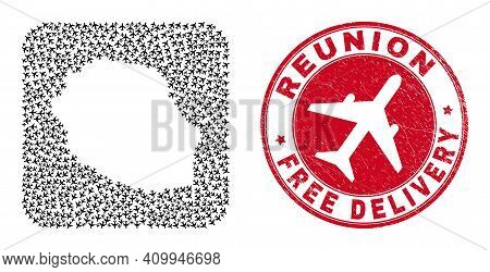 Vector Collage Reunion Island Map Of Jet Vehicle Items And Grunge Free Delivery Badge.