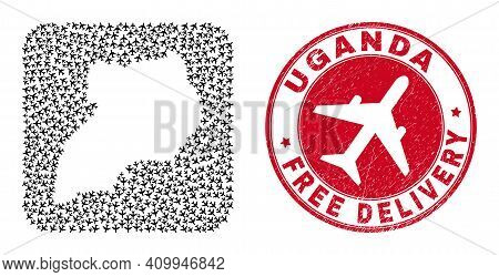 Vector Mosaic Uganda Map Of Aircraft Elements And Grunge Free Delivery Seal Stamp. Mosaic Geographic