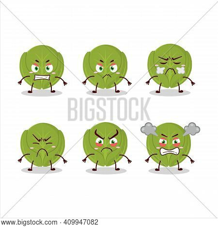 Brussels Sprouts Cartoon Character With Various Angry Expressions