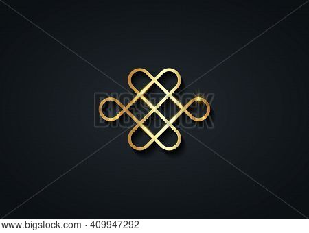 Samsara Gold Icon. Guts Of Buddha, The Bowels Of Buddha. The Endless Knot Or Eternal Knot, Happiness