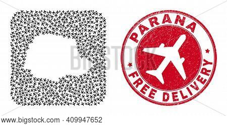 Vector Collage Parana State Map Of Aeroplane Items And Grunge Free Delivery Seal Stamp.