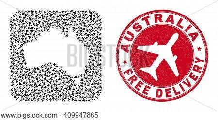 Vector Collage Australia Map Of Airliner Elements And Grunge Free Delivery Stamp. Collage Geographic