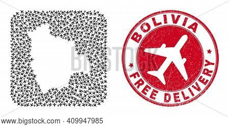 Vector Mosaic Bolivia Map Of Aircraft Elements And Grunge Free Delivery Stamp. Mosaic Geographic Bol