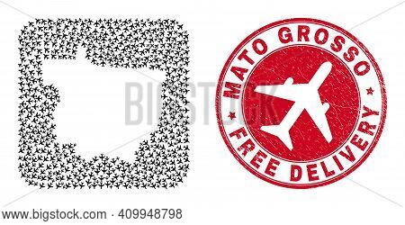 Vector Mosaic Mato Grosso State Map Of Airliner Elements And Grunge Free Delivery Seal Stamp. Mosaic