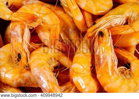 Close-up Of Fresh Raw Shrimps. Food Background