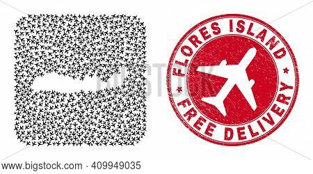 Vector Mosaic Flores Island Of Indonesia Map Of Air Force Items And Grunge Free Delivery Seal Stamp.