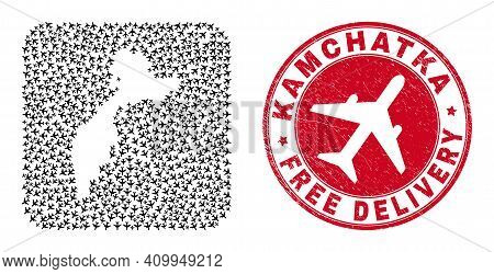 Vector Mosaic Kamchatka Map Of Aircraft Items And Grunge Free Delivery Seal. Mosaic Geographic Kamch