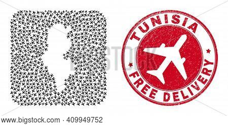 Vector Collage Tunisia Map Of Aviation Elements And Grunge Free Delivery Stamp. Collage Geographic T