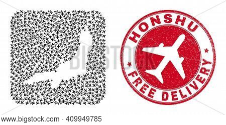 Vector Mosaic Honshu Island Map Of Airplane Elements And Grunge Free Delivery Badge. Collage Geograp