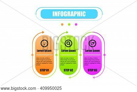 Vector Infographic Circle Label Banner Elements And Numbers. Presentation Business Infographic Templ