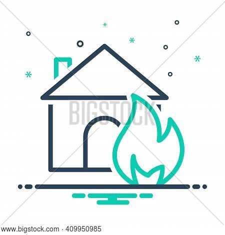 Mix Icon For Suddenly Abruptly House Sudden Unexpected Incident Accident Burning Danger Explosion Ex