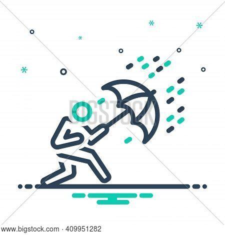 Mix Icon For Crisis Trouble Menace Disaster Danger Scrape Deadlock Rain Umbrella Heavy-rain