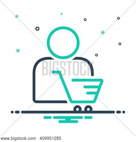 Mix Icon For Customer Client Subscriber Consumer Cart Shopping Clientele Underwriter Purchaser
