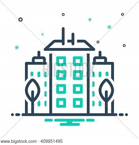 Mix Icon For Downtown Center City Midtown Apartment Architecture Building Construction Home House Re