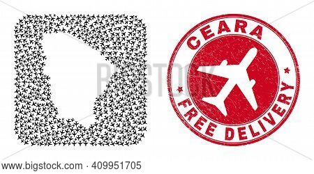 Vector Mosaic Ceara State Map Of Aeroplane Items And Grunge Free Delivery Badge. Collage Geographic