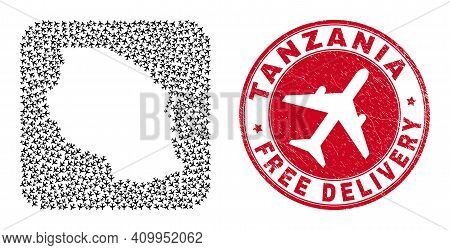 Vector Mosaic Tanzania Map Of Airliner Elements And Grunge Free Delivery Seal Stamp. Mosaic Geograph