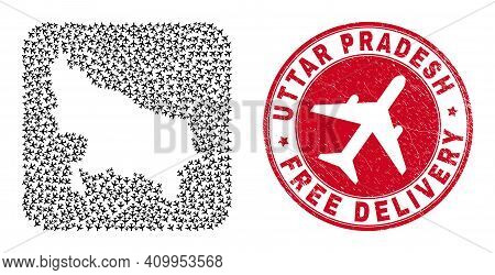 Vector Mosaic Uttar Pradesh State Map Of Jet Vehicle Items And Grunge Free Delivery Stamp.