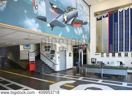 PALM SPRINGS, CALIFORNIA - MARCH 24, 2017: Palm Springs Air Museum Lobby. The Palm Springs Air Museum is home to one of the world's largest collections of flyable WWII aircraft.