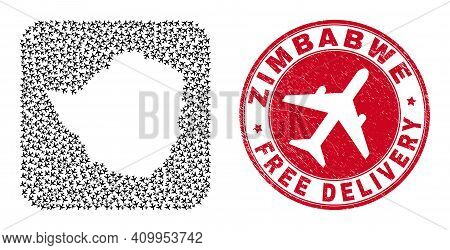 Vector Collage Zimbabwe Map Of Air Force Elements And Grunge Free Delivery Stamp. Mosaic Geographic