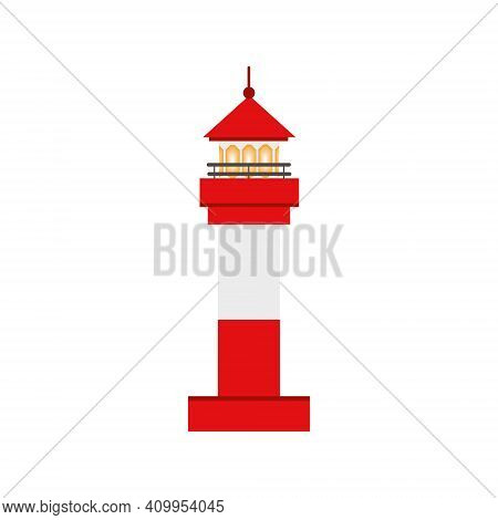 Beautiful Red Lighthouse. Childrens Cartoon Vector Illustration. The Icon Of The Lighthouse. Design
