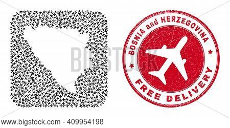 Vector Mosaic Bosnia And Herzegovina Map Of Jet Vehicle Items And Grunge Free Delivery Stamp.