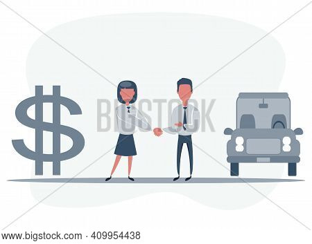 Car Showroom. Purchase Sale Or Rental Car. Seller Man Hands Over The Car To Owner. Vector Illustrati