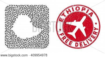 Vector Mosaic Ethiopia Map Of Aviation Items And Grunge Free Delivery Stamp. Collage Geographic Ethi
